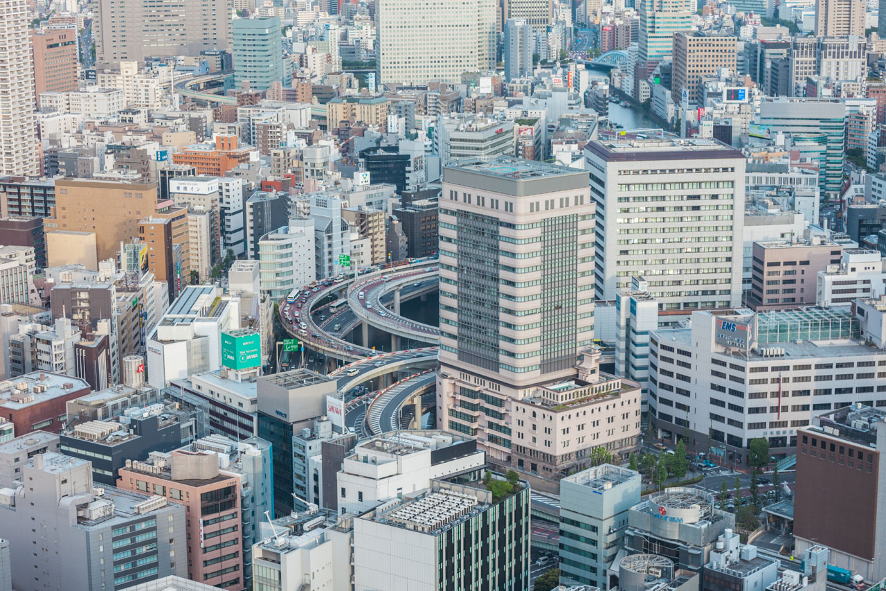 View towards Highway from Mandarin Oriental in Nihonbashi.